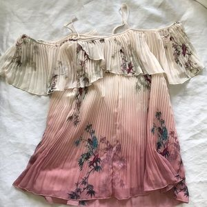 LC pleated off the shoulder top